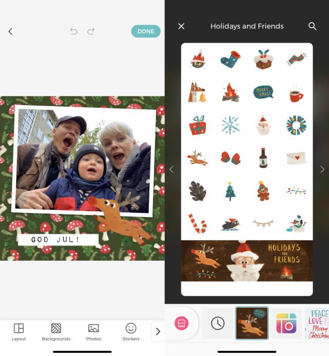FIN JULEGRAFIKK: I Pic Collage kan du laste ned både bakgrunner og klistremerker med juletema, og så bruke dem til å lage fine julekort. Skjermbilde: Kirsti Østvang