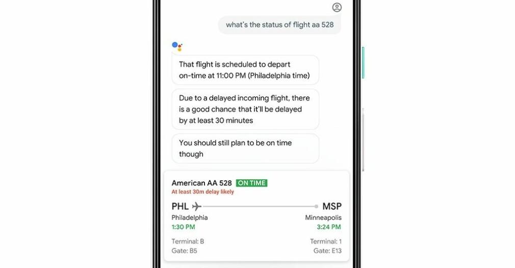 85 PROSENT SIKKER: Google Assistent får nå en funksjon som kan forutse flyforsinkelser med 85 prosent nøyaktighet, hevder selskapet. Foto: Google