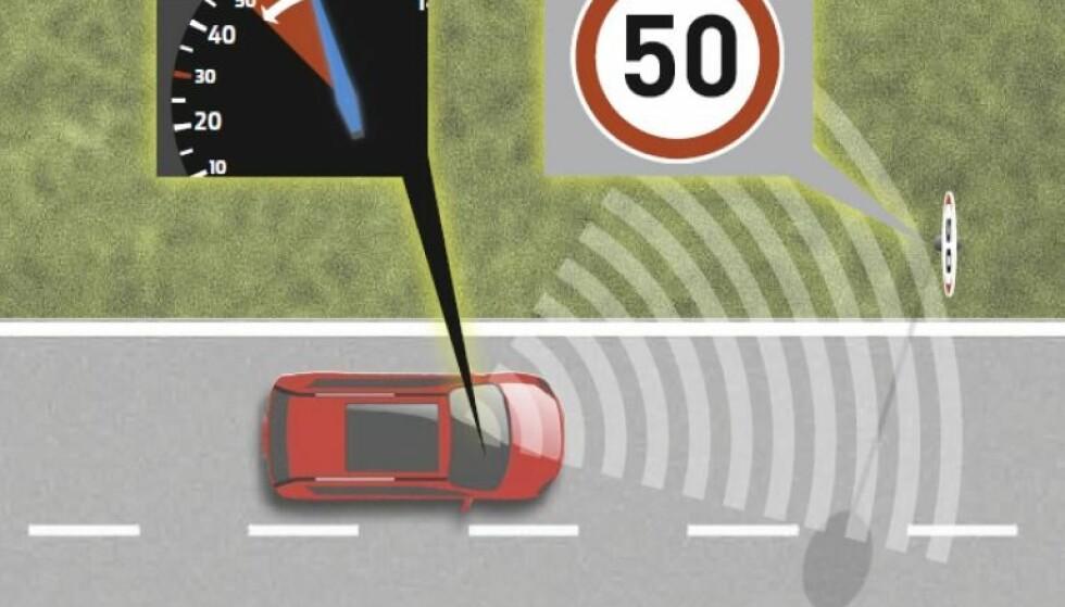 INTELLIGENT FARTSHOLDER: Ford har allerede intelligent fartsholder som leser skiltene og tilpasser farten etter disse på flere av sine biler, inkludert nye Ford Focus.
