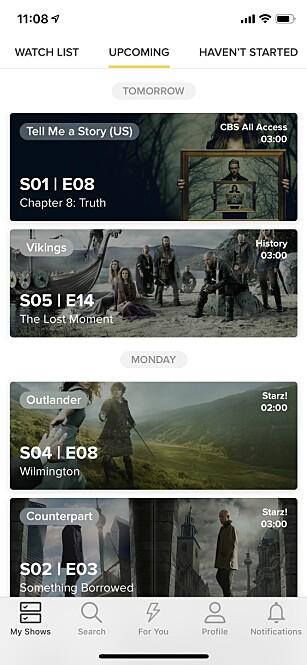 Med TV Time får du full oversikt over TV-seriene.
