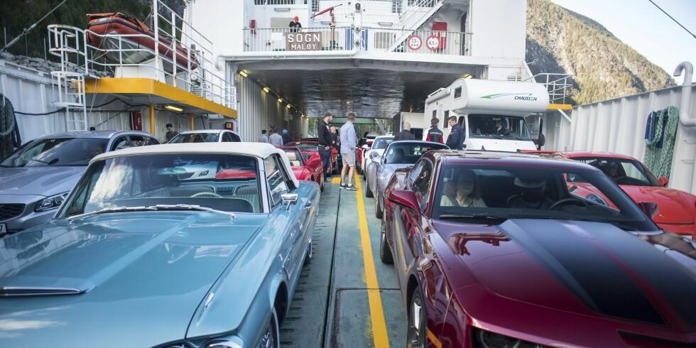 MIN FERGE ER FYLT MED... Biler. I alle fasonger. Her er vi på rutens eneste ferge, som går fra Sogndal til Lærdal. Foto: Dave Cox