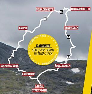 RUTA: Turen går fra Lærdalsøren til Årdal, Tindevegen, Turtagrø, Skjolden, Luster, Hafslo, Sogndal, Kaupanger og tilbake til Lærdalsøren.