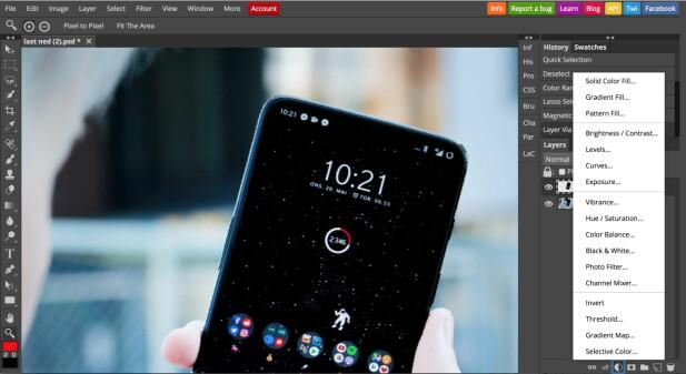 AVANSERT: Photopea gir deg 80 prosent av funksjonaliteten i Photoshop helt gratis, og rett i nettleseren. Foto: Pål Joakim Pollen