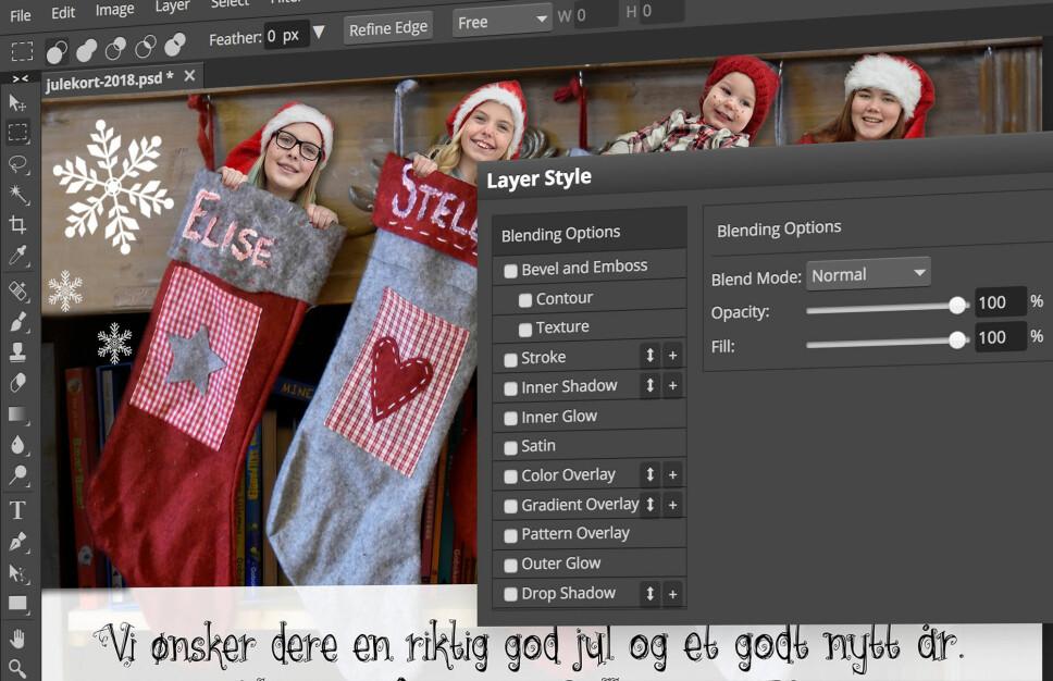 GANSKE LIKT: Photopea er gratis og kjører direkte i nettleseren med mange funksjoner hentet fra Photoshop. Foto: Pål Joakim Pollen