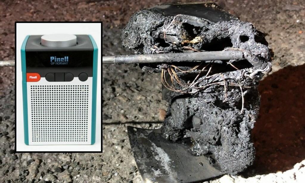 EKSPLODERTE: Slik ser Pinell Go-radioen ut før og etter at den eksploderte og tok fyr. Foto: Dinside/Politiet.