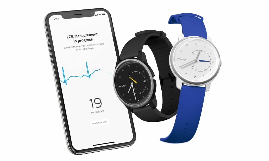 ANALOG SMARTKLOKKE: Withings' lager smartklokker som fungerer mer som vanlige, analoge ur. Deres nyeste tilskudd har dog innebygd EKG-måler. Foto: Withings