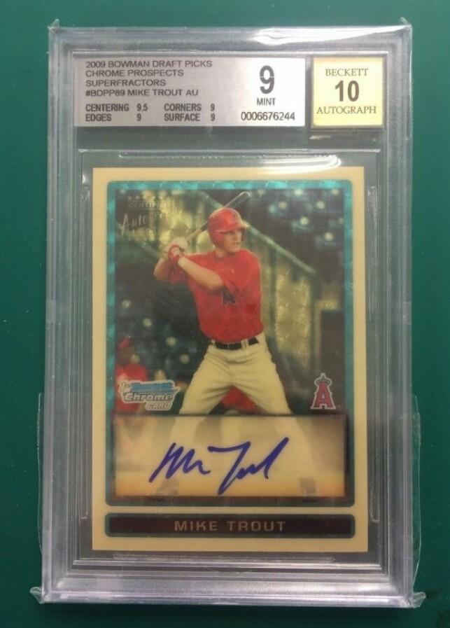 2009 Mike Trout Draft Pick baseball-kort: $400,000 (3.433.712 nok)