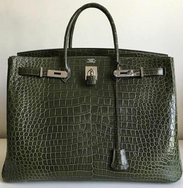 Hermes Birkin veske, Olive Green, Porosus Crocodile Sz 40: $79,000 (678.104 nok)