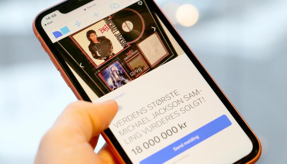 <strong>18 MILLIONER KRONER:</strong> Denne annonsen for en Michael Jackson-samling til 18 millioner kroner var den dyreste annonsen publisert på torget på Finn.no i fjor. Blant de dyreste tingene solgt på eBay finner vi klokker, biler og samlerobjekter. Foto: Kristin Sørdal