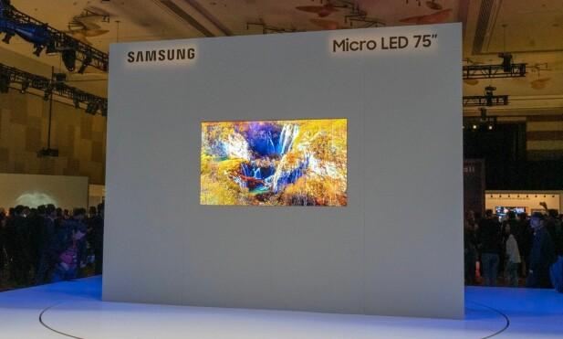 Denne MicroLED-TV-en på 75 tommer kommer i salg, men det er ukjent når. Foto: Martin Kynningsrud Størbu.