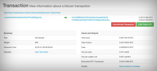 ÅPEN BOK: Alle kan se hvilke transaksjoner som blir utført med bitcoin, selv om avsenderadresse og mottakeradresse bare er en lang remse med tall og bokstaver. Skjermbilde: Pål Joakim Pollen