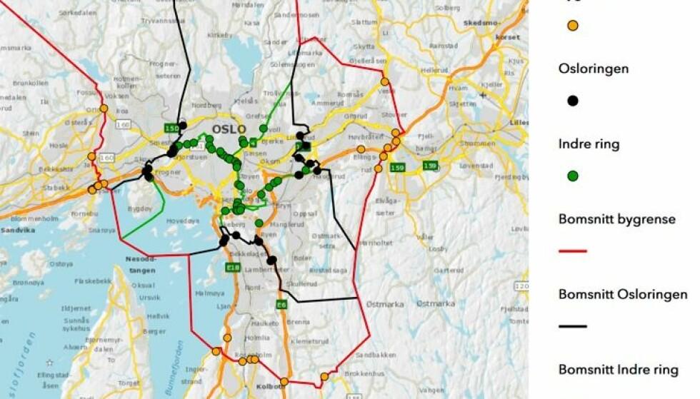 53 NYE BOMMER: Fra 1. juni settes 39 bommer i en indre ring i Oslo, samt 14 bomstasjoner på grensen mot Romerike og Follo i drift. Kart: Fjellinjen