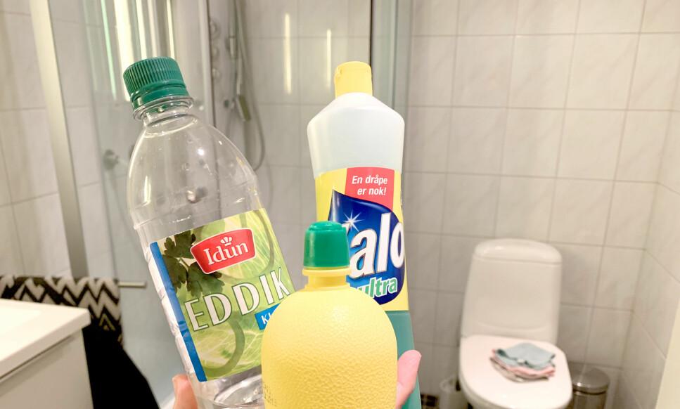 DUELL I DUSJVASK: Vi lar en utfordrer teste seg mot tidligere storfavoritt: Kan sitron hevde seg mot oppvaskmiddel og eddik som vaskemiddel for dusjen? Foto: Kristin Sørdal