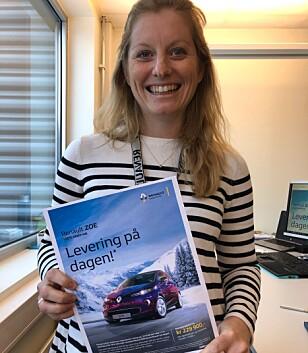 BIL SAMME DAG: - Alle forhandlere har biler stående på lager, sier markedssjef Stine Fratras i Renault Norge. Foto: Renault