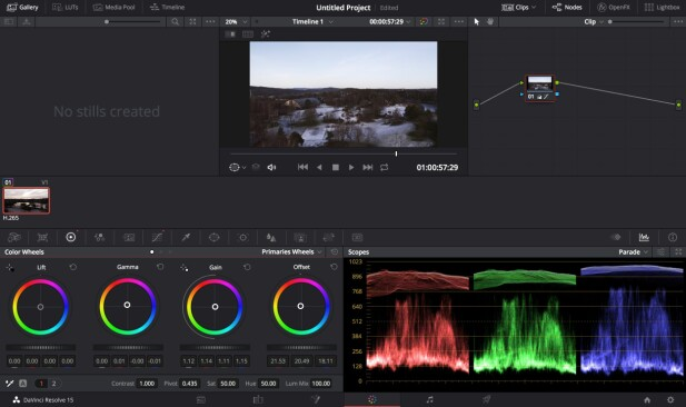 FULL KONTROLL: Mavic 2 Pros utvidede fargerom gir deg mer å jobbe med i etterproduksjonen av videoen. Skjermbilde: Pål Joakim Pollen