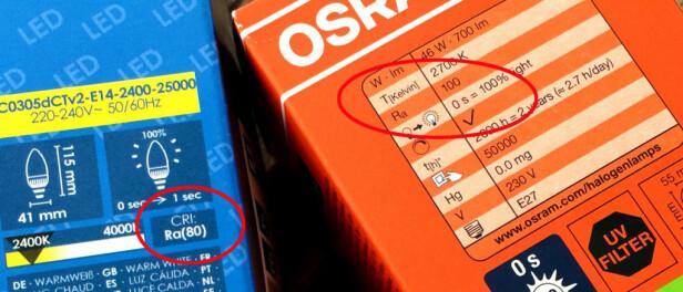 RA = FARGEGJENGIVELSE: Ra er evne til å gjengi farge. 100 er maks. Foto: KRISTIN SØRDAL
