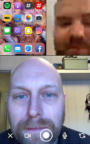 Her er vi tre i én samtale. På grunn av tregt trådløst nettverk på jobb, ble ikke Martin like knivskarp som i virkeligheten. Skjembilde: Pål Joakim Pollen