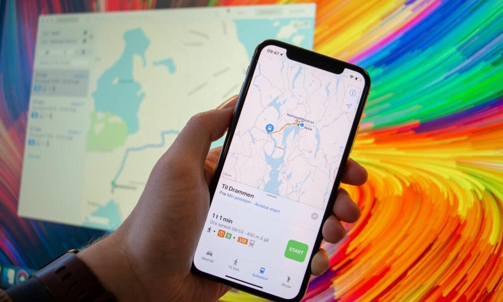 TRANSIT: Apple Maps har nå innebygget reiseplanlegger. Foto: Dinside/Apple