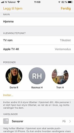 FAMILIE: Inviter familiemedlemmer inn i HomeKit, så synkroniseres innstillingene i Hjem-appen til deres iPhone/iPad. Som standard har de ikke mulighet til å redigere noe, men det kan gis tilgang til det ved å trykke på personen i Hjem-innstillingene. Skjermbilde: Tron Høgvold