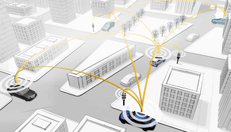 TRAFIKKFLYT: Ved at alle kjøretøy og infrastruktur snakker sammen, kan man planlegge trafikkflyten bedre. Illustrasjon: Mercedes-Benz