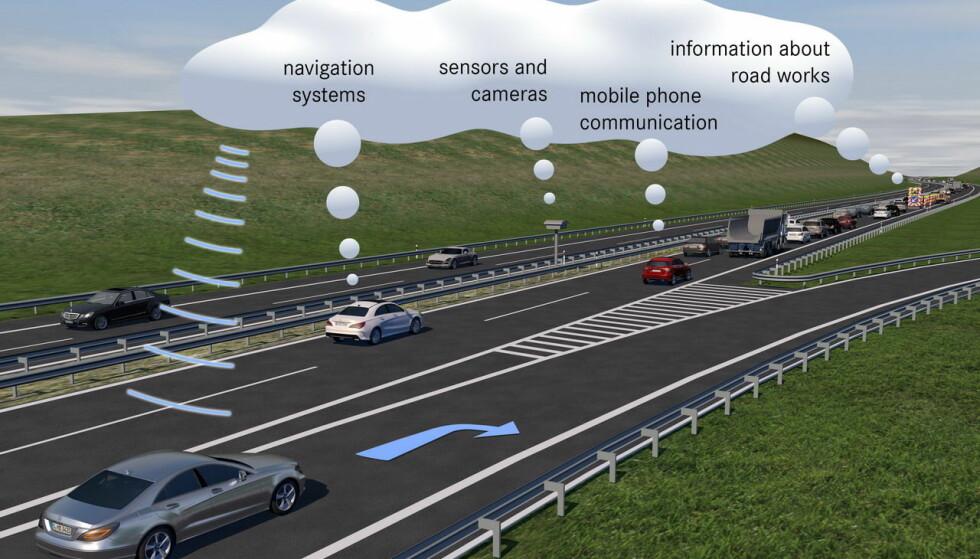 EORME MENGDER DATA: Med ny 5G-teknologi muliggjøres superrask informasjon. Når systemene blir implementert i hele bilparken, skal bilene kunne både passivt gi info og aktivt unngå hendelser. Illustrasjon: Mercedes-Benz