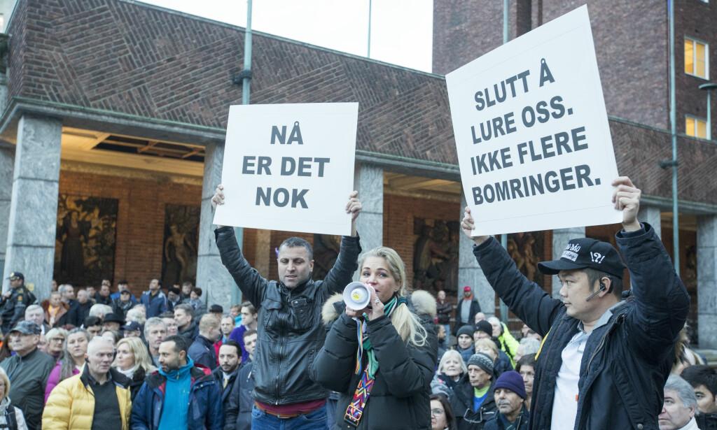 MOTSTANDERE: Cecilie Lyngby, i midten, er godt fornøyd med at de inngår samarbeid med Bomfritt Norge: Her under demonstrasjon i Oslo i 2017. Foto: Terje Pedersen/NTB scanpix