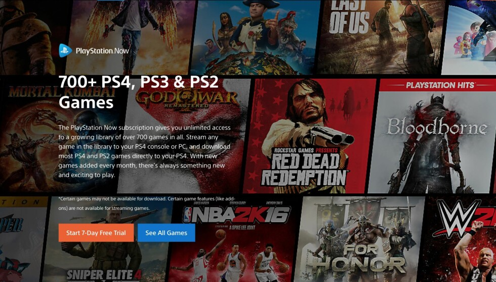 HUNDREVIS AV SPILL: Playstation Now lar deg spille flere hundre spill mot en månedlig avgift. Nå lanseres tjenesten snart i Norge.