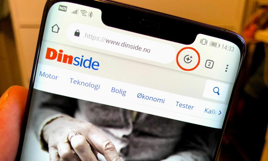 NY KNAPP: Chrome på Android har nå fått en ny knapp på toppen, som viser deg relevant innhold. Foto: Pål Joakim Pollen