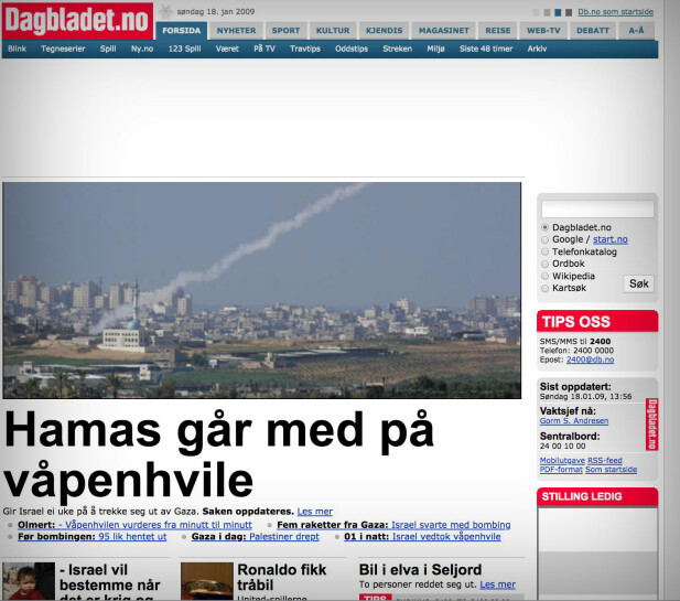 Dagbladet.no, 2009