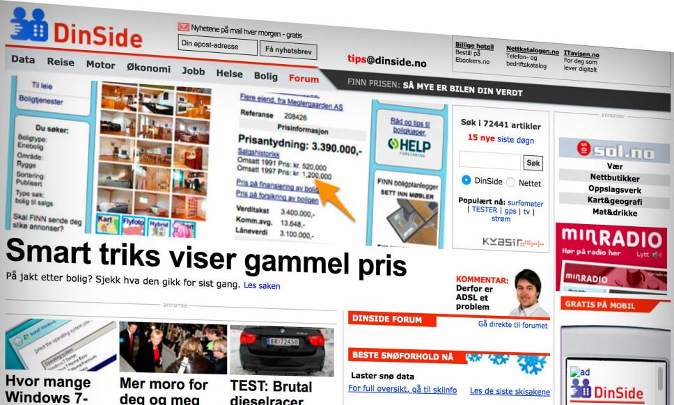 <strong>DINSIDE ANNO 2009:</strong> Vi har reist i tidsmaskinen og funnet frem ti norske nettsider og hvordan de så ut i 2009. Skjermbilde: Pål Joakim Pollen