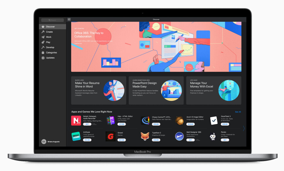 NEIDA, GRISER FLYR IKKE: Microsof Office kan nå lastes ned fra Apples app-butikk til Mac.