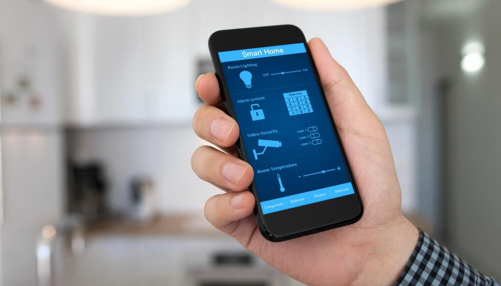 SMARTHJEM: Med smarte produkter kan du styre mye i hjemmet ditt rett fra sofaen. Foto: Denys Prykhodov/Shutterstock/NTB scanpix
