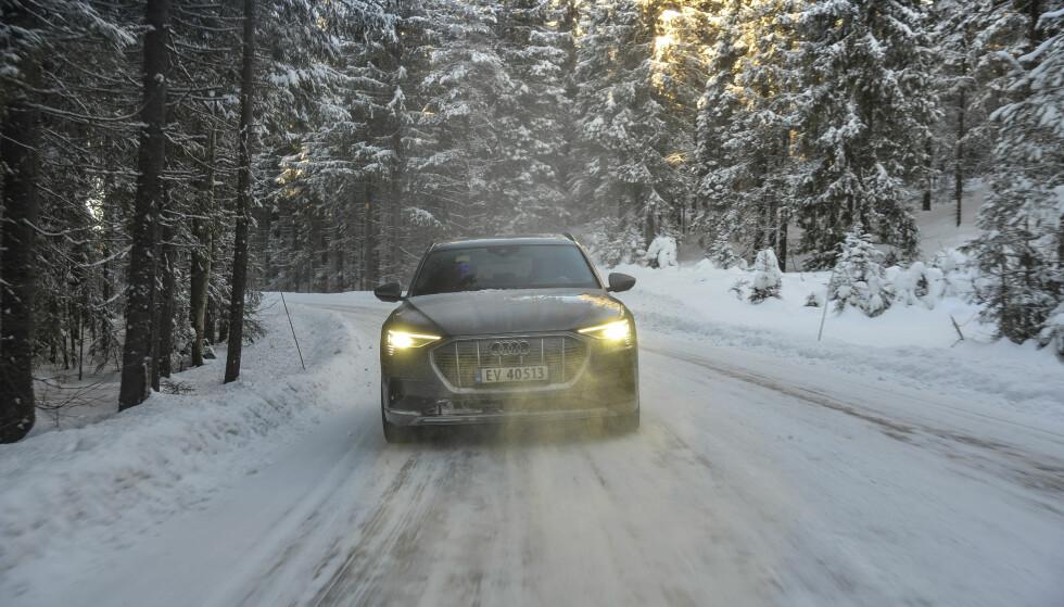 <strong>STREKKER STRIKKEN:</strong> Audi e-tron imponerer også på vinterføre. Foto: Jamieson Pothecary