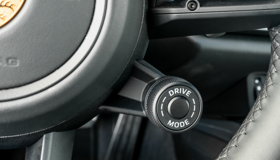 NYTT MODUS: Med hjulet på rattet kan du velge mellom Normal, Sport, Sport+ og Wet. Foto: Rune M. Nesheim