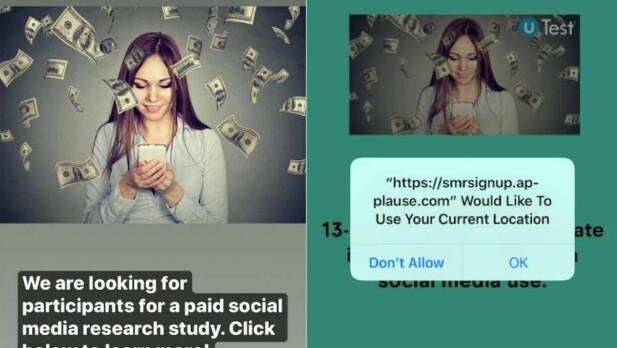 Annonser fra Snapchat der brukerne tilbys å være med på en studie mot betaling.