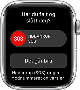 <strong>VARSELET:</strong> Her er meldingen som kommer opp på skjermen når Apple Watch har registrert et stygt fall. Foto: Apple