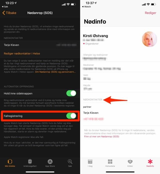 SJEKK INNSTILLINGENE: Først bør du gå til innstillingene for din Apple Watch, deretter sjekk Nødinfo-informasjonen din i Apples Helse-app. Skjermbilde: Kirsti Østvang