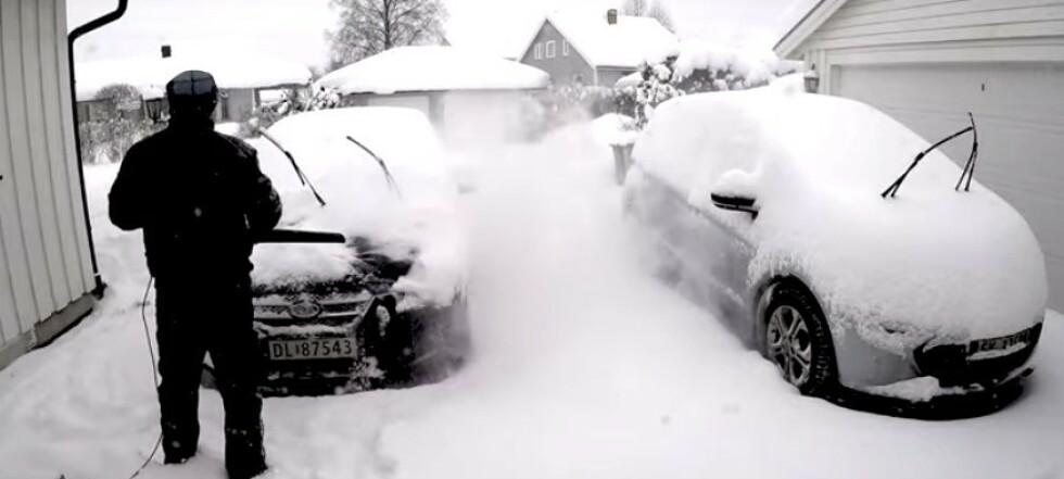 Fjerner snøen på sekunder