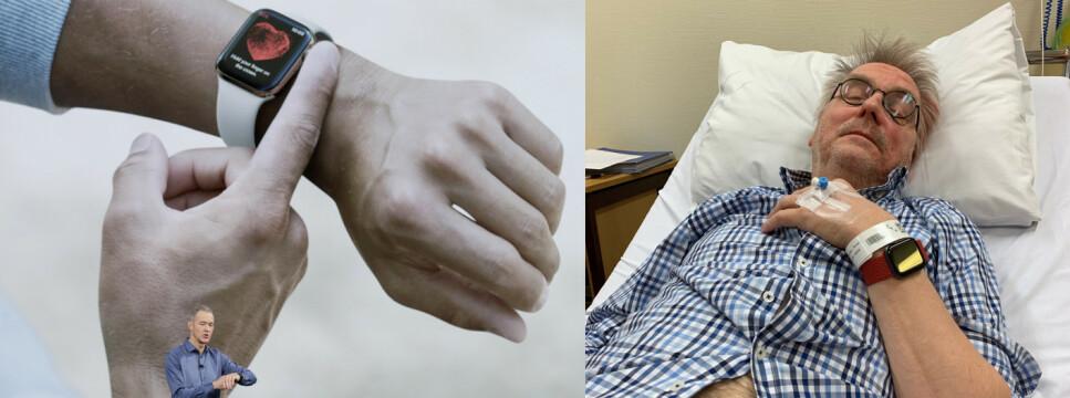 HELSEKLOKKE: Apple Watch har flere helsefunksjoner. I helga reddet en av dem trolig faren min. Foto: Marcio Jose Sanchez/AP Photo/Apple og Kirsti Østvang