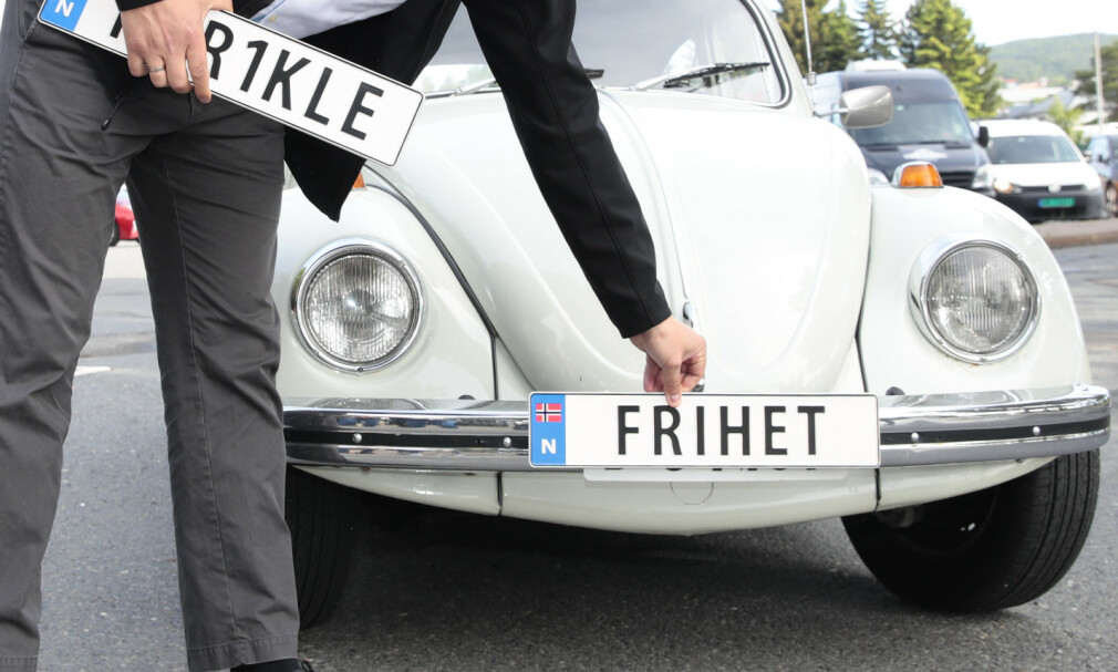 PERSONLIGE BILSKILT: Nordmenn bruker flere millioner kroner på egne bilskilt. Foto: Håkon Mosvold Larsen/NTB Scanpix