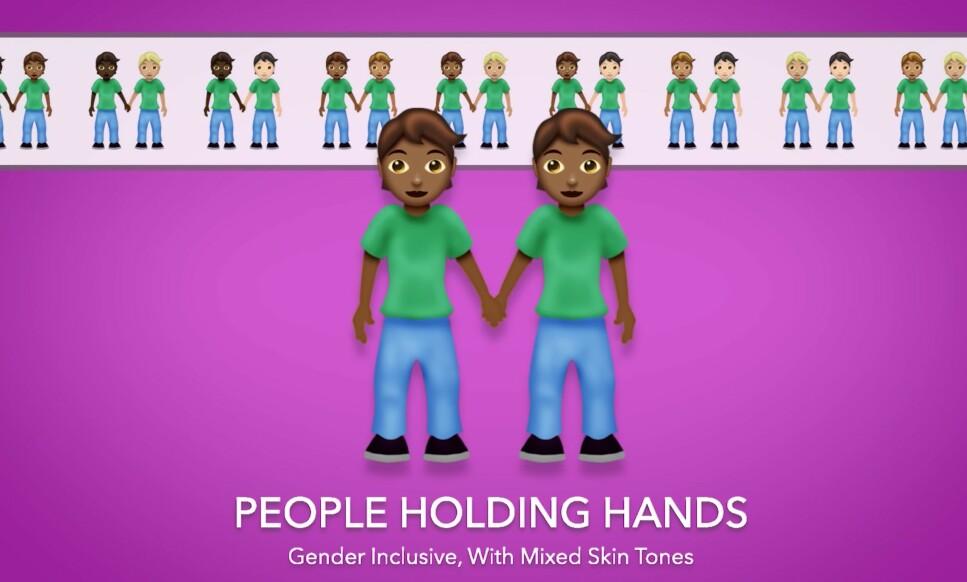 HOLDE HENDER: Folk som holder hender er en av de nye emojiene, og den kommer i en rekke forskjellige varianter. Skjermbilde: Emojipedia