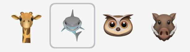 FIRE NYE DYR: Her er de fire nye Animoji-karaktere som snart blir tilgjengelig. Skjermbilde: Kirsti Østvang