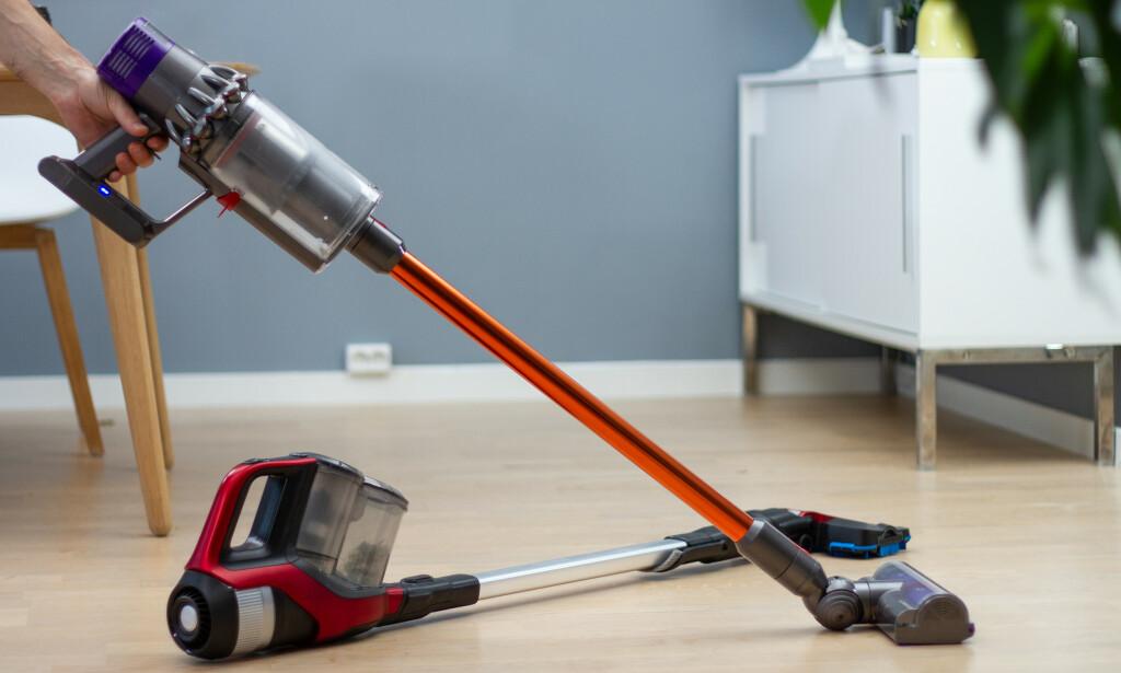 TRE TYPER TESTET: Vi har testet batteridrevne støvsugere fra Philips, Bosch og Dyson. Foto: Tron Høgvold
