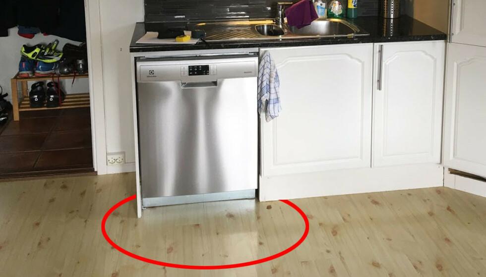VANNLEKKASJE? Ser du endringer i fargen på parketten foran oppvaskmaskina, kan det være et tegn på vannlekkasje. Men det fins måter å unngå slike lekkasjer på. Foto: Bjørn Eirik Loftås
