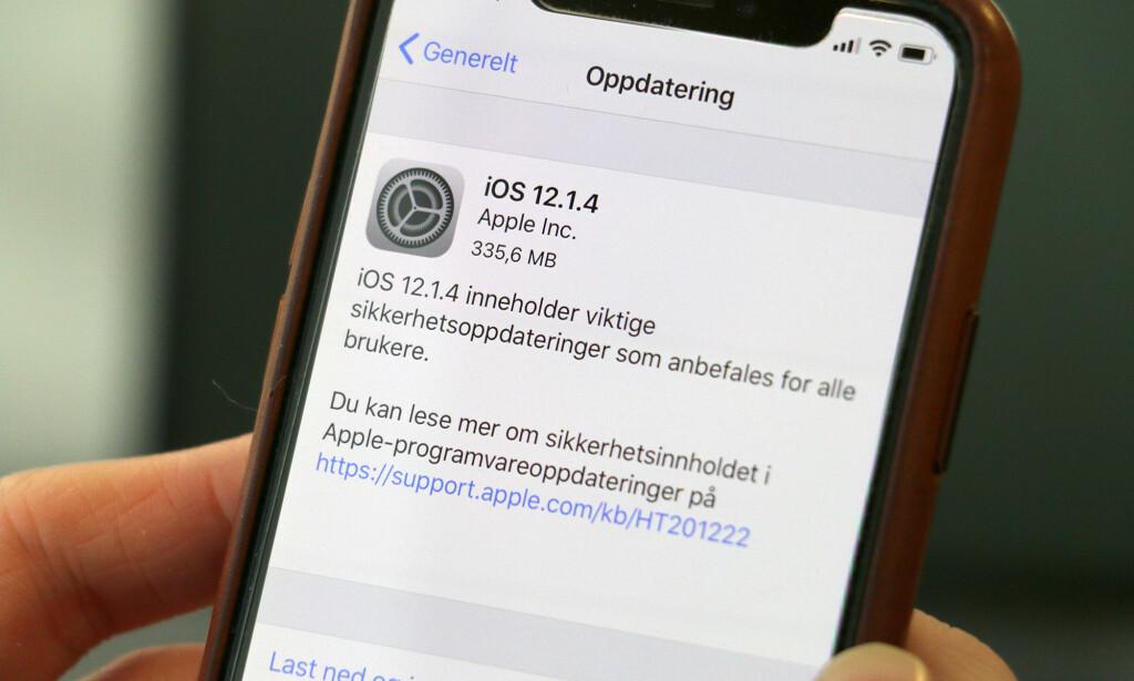 INGEN NYE FUNKSJONER: iOS 12.1.4 inneholder bare feilretteringer, men viktige sådan. Foto: Kirsti Østvang