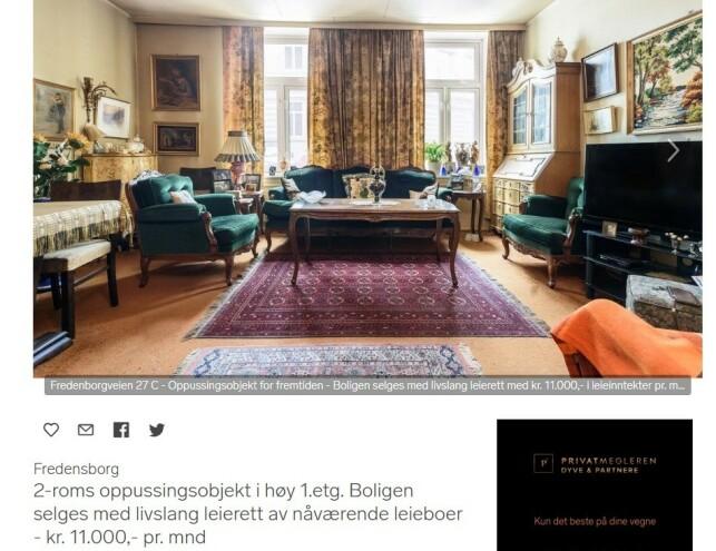 LIVSLANG LEIERETT: Tidligere i februar ble det lagt ut en leilighet for salg i Oslo hvor nåværende leietaker har kontrakt som varer på livstid. Foto: skjermdump/Finn.no.