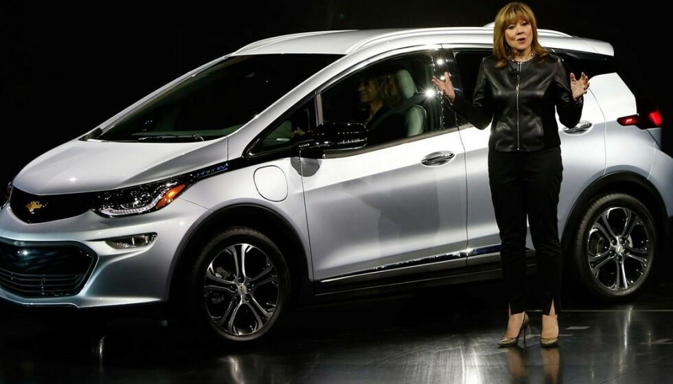 <strong>SKAL LAGE FLERE:</strong> GM-sjef Mary Barra uttalte nylig at produksjonen på fabrikken som bygger Opel Ampera-e og Chevrolet Bolt skal økes med 20 prosent. Foto: GM