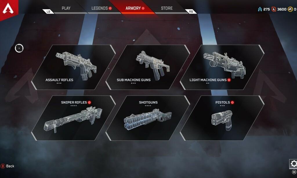 Dette er våpentypene i Apex Legends.