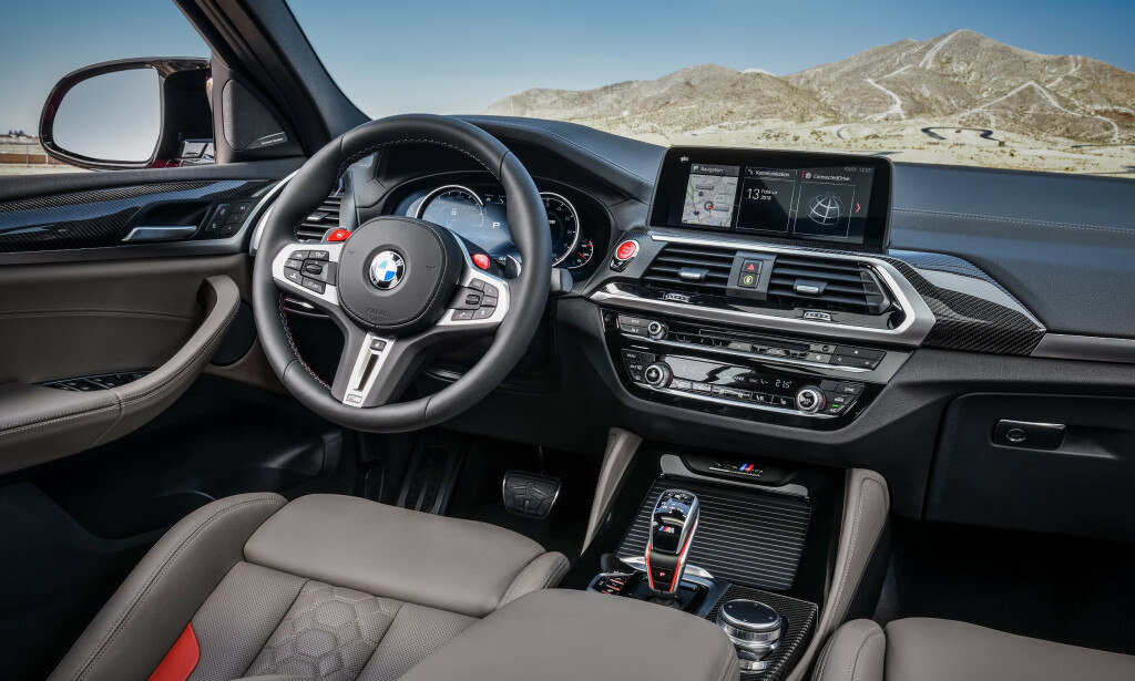 M-INTERIØR: Det mest spesifikke for M-utgavene har fått den sportslige rødfargen. Foto: BMW