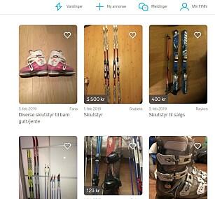FINN DET PÅ FINN: Et enkelt søk i ditt nærområde kan avsløre at skiutstyret du trenger kan befinne seg i nabohuset. Foto: skjermdump.